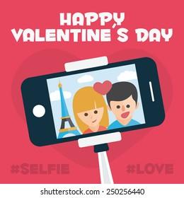 Happy Valentines day card. Romantic selfie stick in Paris. Romantic travel. Monopod Selfie Self Portrait Tool