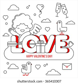 Happy Valentine's Day card. A smiling cute Cupid on top of the word love. Greeting card and a set of elements for design: a bird, a cloud, heart, glass, gift