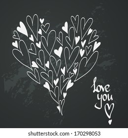 Happy Valentine's Day card. Stylish romantic invitation card template with hand drawn hearts on chalkboard background.