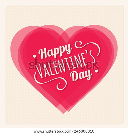 Happy Valentines Day Card Transparent Heart Stock Vector Royalty