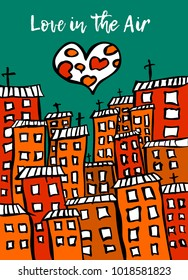 Happy Valentines Day Card - Vector Illustration of the Love in the Air: the romantic moon in the shape of the heart above the night city.