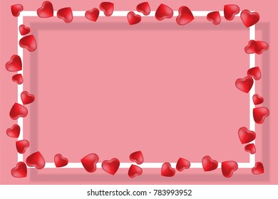 Happy Valentines Day card. Vector illustration background with two hearts, pink and rad color