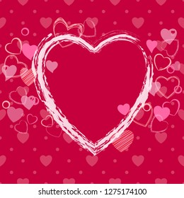 Happy Valentine's day card wuth brush painted heart decoration