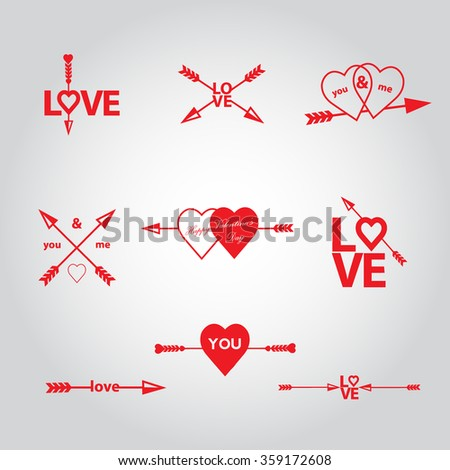 Happy Valentines Day Cards Arrow Vectror Stock Vector Royalty Free