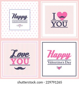 Happy Valentine's Day cards on different background. vintage retro type font. set of unusual design.