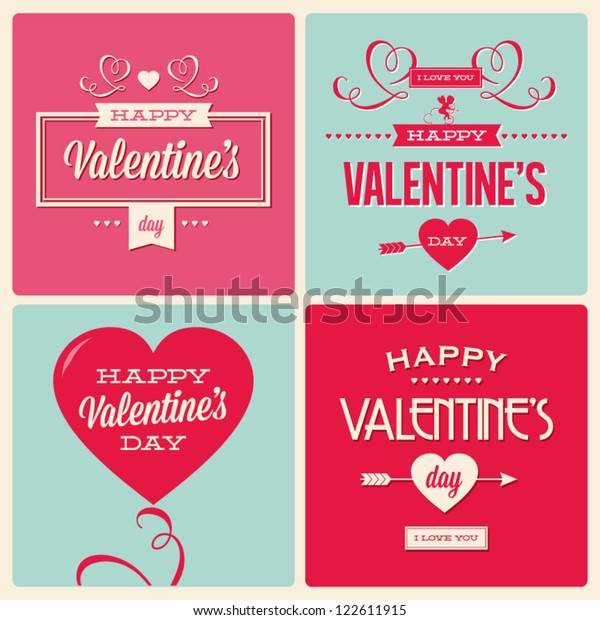 happy valentines day cards with ornaments, hearts, ribbon, angel and arrow