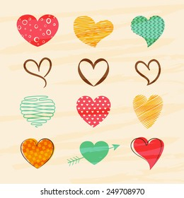 Happy Valentines Day celebration greeting card with colorful creative hearts.