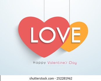 Happy Valentine's Day celebration with text Love on hanging hearts.