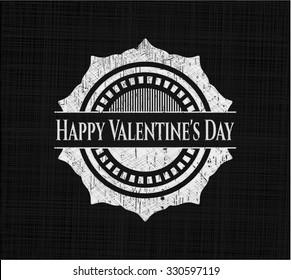 Happy Valentine's Day chalk emblem written on a blackboard