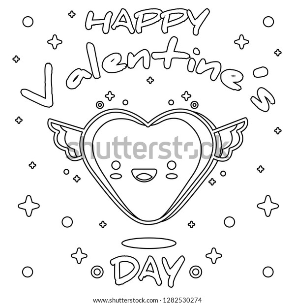 Happy Valentines Day Coloring Page Black Stock Vector (Royalty Free)  1282530274
