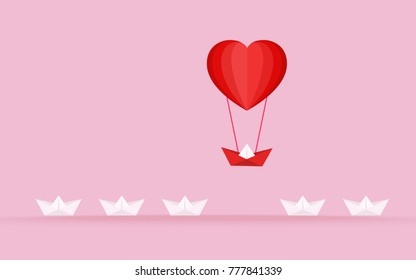 Happy valentine's day concept of love. Outstanding the Boat rises above with heart shape hot air balloon. Vector Illustration