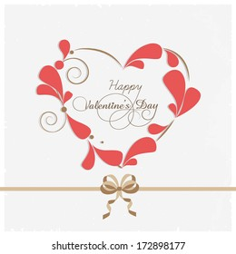 Happy Valentines Day concept with stylish heart shape decorated with pink petals on grey background.