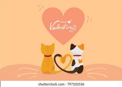 Happy Valentine's day... a couple of lovely cats sitting together with their heart-shape tails on the sweet pink background and a big heart