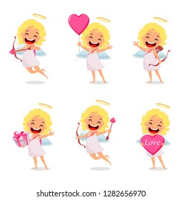 Happy Valentines Day. Cupid girl, cute cartoon character, set of six poses. Vector illustration on white background