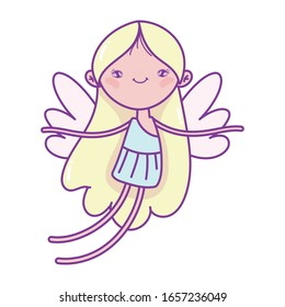 happy valentines day, cupid with wings cartoon character vector illustration