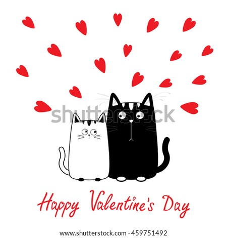 Happy Valentines Day Cute Cartoon Black Stock Vector Royalty Free