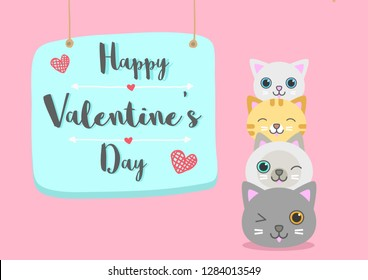 happy valentine's day with cute cat on pink background