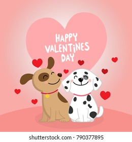 Happy Valentine's Day with cute dogs couple. Greeting card vector.