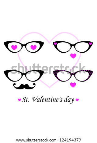 a8d763f9f13 Happy Valentines Day Cute Sun Glasses Stock Vector (Royalty Free ...