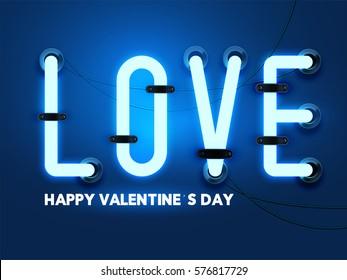 Happy valentines day  dark blue gradient background with lighting text, EPS10 vector.