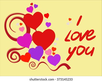 Happy Valentine's Day declaration of love, and I love you red text. Suitable for birthday and wedding. Vector illustration.