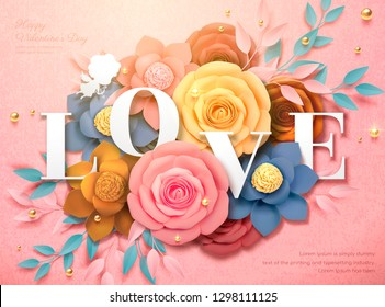 Happy Valentine's Day design with colorful paper flowers in 3d illustration, pink background