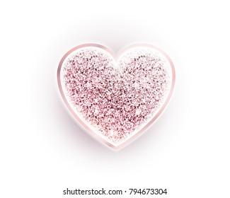 Happy valentines day. Diamond heart rose gold on a white background. Romantic design element. Luxury elegant shape with glitter heart. Vector illustration. Festive sparkle. Glitter pink heart. EPS10.
