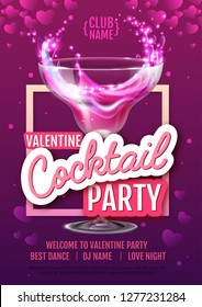 Happy Valentine`s Day disco party poster. Valentine background with cocktail
