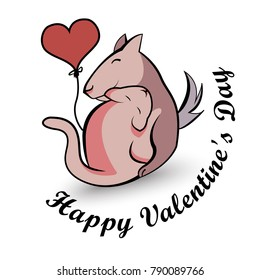 Happy Valentine's Day - Dog and cat with heart