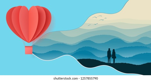 Happy valentines day double exposure vector illustration with paper cut red heart shape origami made hot air balloons flying in sky background . Living coral colors. paper art and digital craft style
