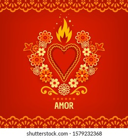 Happy Valentines Day, Feliz Dia de San Valentin. Greeting card, invitation with a fiery heart and flowers in paper style. Corazon Mexicano.