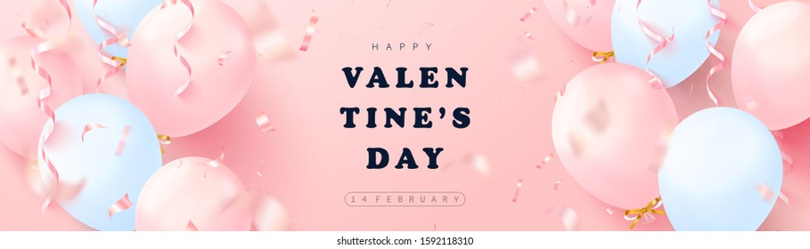 Happy Valentines Day festive banner. Vector illustration with 3D pink and blue balloons, serpentine and confetti.Modern holiday background for postcard,  poster and other design - Shutterstock ID 1592118310