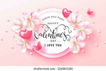 Happy Valentine's Day Festive Card. Beautiful Background with spring flowers, hearts, beads and butterfly. Vector Illustration.