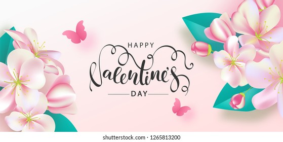Happy Valentine's Day Festive Card. Beautiful Background with spring flowers and butterfly. Vector Illustration.