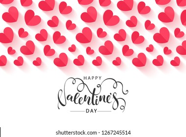Happy Valentines Day Festive Card. Beautiful Background with paper hearts. Vector Illustration.