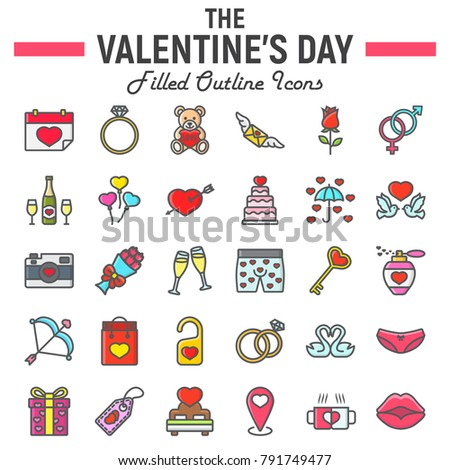 Happy Valentines Day Filled Outline Icon Stock Vector Royalty Free