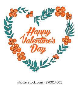 Happy Valentines Day floral heart card. Vintage wedding invitation. Summer bright background