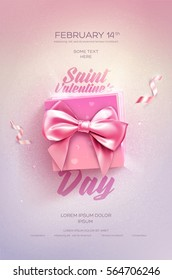 Happy Valentine's Day flyer or poster. Top view on gift box and bow with beautiful backdrop. Vector illustration