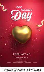 Happy Valentine's Day flyer or poster. Top view on golden heart with beautiful backdrop. Vector illustration
