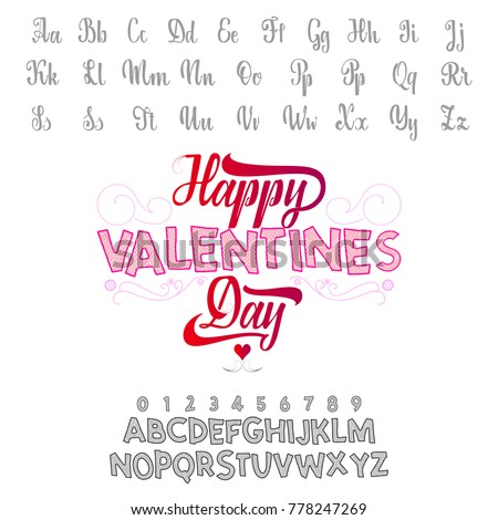Happy Valentines Day Font Vector Alphabet Stock Vector Royalty Free