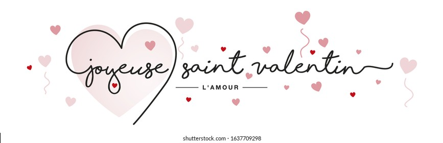 Happy Valentine's Day French language handwritten typography lettering line heart red pink hearts white banner - Shutterstock ID 1637709298