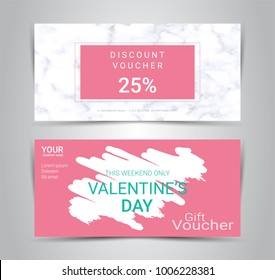 Happy Valentine's Day, Gift certificates and vouchers, discount coupon or banner web promotion template with marble texture imitation background for make an image of the product your company offers.