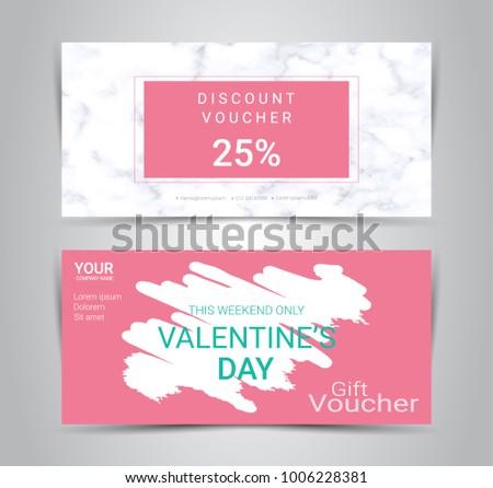 Happy Valentines Day Gift Certificates Vouchers Stock Vector