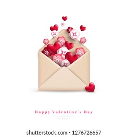 Happy Valentine's Day gift, craft paper envelope with hearts and flowers. Vector illustration. Festive greeting concept.