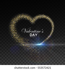 Happy Valentines Day. Glowing stream of confetti particles and flare light effect. Holiday vector illustration of shiny heart path isolated on checkered transparent background. Decoration element