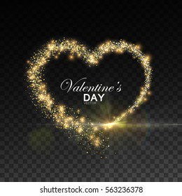 Happy Valentines Day. Glowing stream of sparkles and lens flare light effect. Holiday vector illustration of shiny heart path isolated on checkered transparent background. Decoration element.