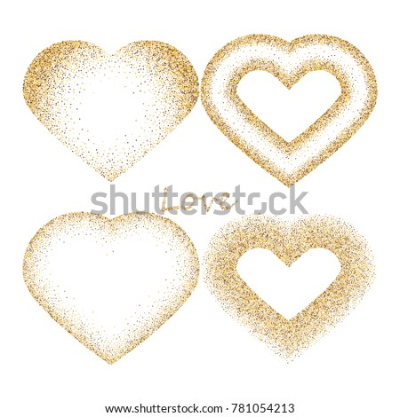9691f673c2cf Happy Valentine's day, with gold glitter effect isolated on white  background. Vector illustration.