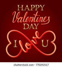 Happy Valentines Day golden and fluid lettering text with symbol of infinity love for greeting card design.