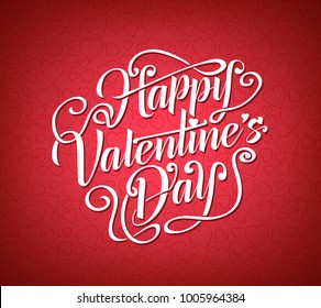 Happy Valentines Day Greeting Calligraphy in Red Background with Heart Pattern. Vector Illustration.