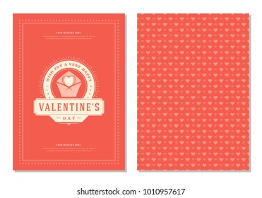 Happy Valentines Day Greeting Card or Poster Vector illustration. Retro typography design and pattern background.